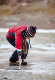 Cleaning  the ice from snow on rink Royalty Free Stock Photos