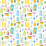 Cleaning icon seamless pattern. Cleaning washing housework dishes broom bottle sponge icons seamless pattern vector illustration Royalty Free Stock Images