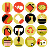 Cleaning icon set. Set of 16 round flat icons with cleaning service symbols Royalty Free Illustration