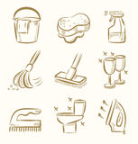 Cleaning icon set Stock Photo