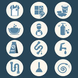 Cleaning icon set Stock Photography