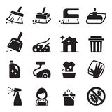 Cleaning icon set Stock Images