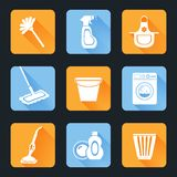 Cleaning Icon Set. Cleaning washing housework equipment icons flat set isolated vector illustration Royalty Free Stock Photos