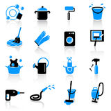 Cleaning icons. Set of 16 cleaning icons on white background Royalty Free Stock Photo