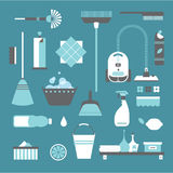 Cleaning icons. Vector set of stylized cleaning tools icons Royalty Free Stock Image