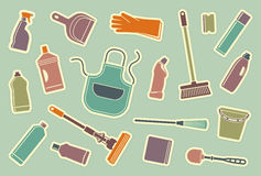 Cleaning icons Stock Images