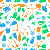 Cleaning icons color seamless pattern Royalty Free Stock Photography