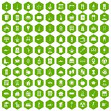 100 cleaning icons hexagon green. 100 cleaning icons set in green hexagon  vector illustration Royalty Free Stock Photos