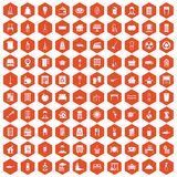 100 cleaning icons hexagon orange Stock Photo