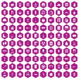 100 cleaning icons hexagon violet. 100 cleaning icons set in violet hexagon isolated vector illustration stock illustration