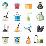 Cleaning icons. This image is a vector illustration Stock Photos