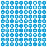 100 cleaning icons set blue. 100 cleaning icons set in blue hexagon isolated vector illustration vector illustration