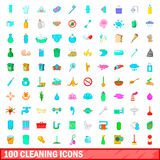 100 cleaning icons set, cartoon style. 100 cleaning icons set in cartoon style for any design vector illustration Stock Photography