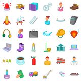 Cleaning icons set, cartoon style Stock Image