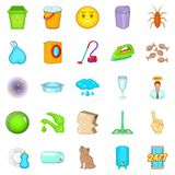 Cleaning icons set, cartoon style Royalty Free Stock Image