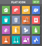 Cleaning Icons set in flat style with long shadows. Stock Images