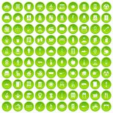 100 cleaning icons set green circle. Isolated on white background vector illustration Royalty Free Stock Image