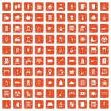 100 cleaning icons set grunge orange. 100 cleaning icons set in grunge style orange color isolated on white background vector illustration Stock Photos