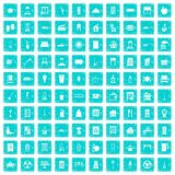 100 cleaning icons set grunge blue. 100 cleaning icons set in grunge style blue color isolated on white background vector illustration Royalty Free Stock Images