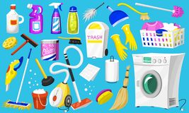 Cleaning icons. Set of Home or Room tools for poster. Washing machine, Detergents Cleanser, Water bucket for Mopping. Vacuum cleaner Scoop, Chemicals royalty free illustration