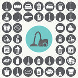 Cleaning icons set. Stock Photo