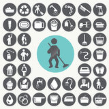 Cleaning icons set. Royalty Free Stock Photography