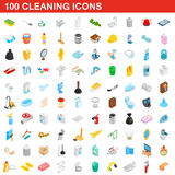 100 cleaning icons set, isometric 3d style Royalty Free Stock Photography