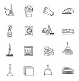 Cleaning icons set, modern line, sketch, doodle style. on white background. Vector illustration Stock Illustration