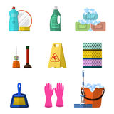 Cleaning icons set with mop soap and gloves. Red plastic bucket, cleaning products in bottle for floor and glass. vector illustration  in flat design Stock Photography