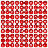 100 cleaning icons set red. 100 cleaning icons set in red circle isolated on white vector illustration Royalty Free Stock Image