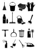 Cleaning Icons. Set of cleaning related item icon set in black Royalty Free Stock Photography