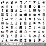100 cleaning icons set, simple style. 100 cleaning icons set in simple style for any design vector illustration Royalty Free Stock Image