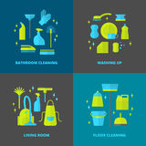 Cleaning icons set. Stock Photography
