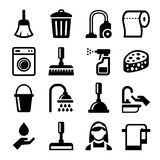 Cleaning Icons Set on White Background. Vector Stock Photos