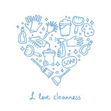 Cleaning. Icons in the shape of a heart Royalty Free Stock Images