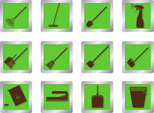 Cleaning icons on square buttons Stock Image