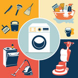 Cleaning icons Royalty Free Stock Image