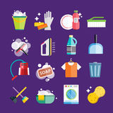 Cleaning icons vector set clean service Stock Photo
