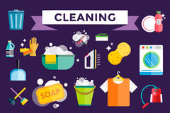 Cleaning icons vector set clean service Royalty Free Stock Photo