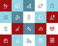 Cleaning ikony Mieszkanie styl ilustracja wektor