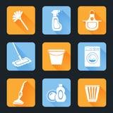Cleaning ikony set Zdjęcia Royalty Free