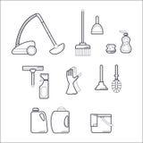 Cleaning ikony Set/wyposażenie dla Czyścić Fotografia Stock