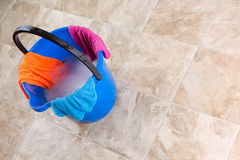 Cleaning. Image of a bucket with rag and water for cleaning Stock Photo