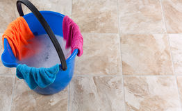 Cleaning. Image of a bucket with rag and water for cleaning Stock Images