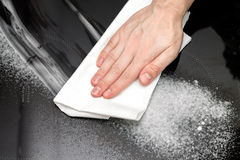 Cleaning the induction hob. Stock Images