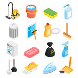 Cleaning isometric 3d icons Stock Photos