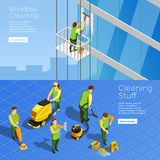 Cleaning Isometric Horizontal Banners. Isometric horizontal banners with stuff of industrial alpinism company cleaning skyscraper windows and office cleaners Stock Images