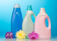 Cleaning items on blue Royalty Free Stock Image