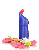 Cleaning items and brush for toilet Royalty Free Stock Photos