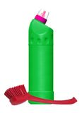 Cleaning items and brush for toilet isolated on white Stock Photography